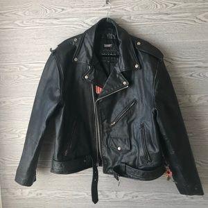 Wilsons Leather Mens Black Motorcycle Jacket